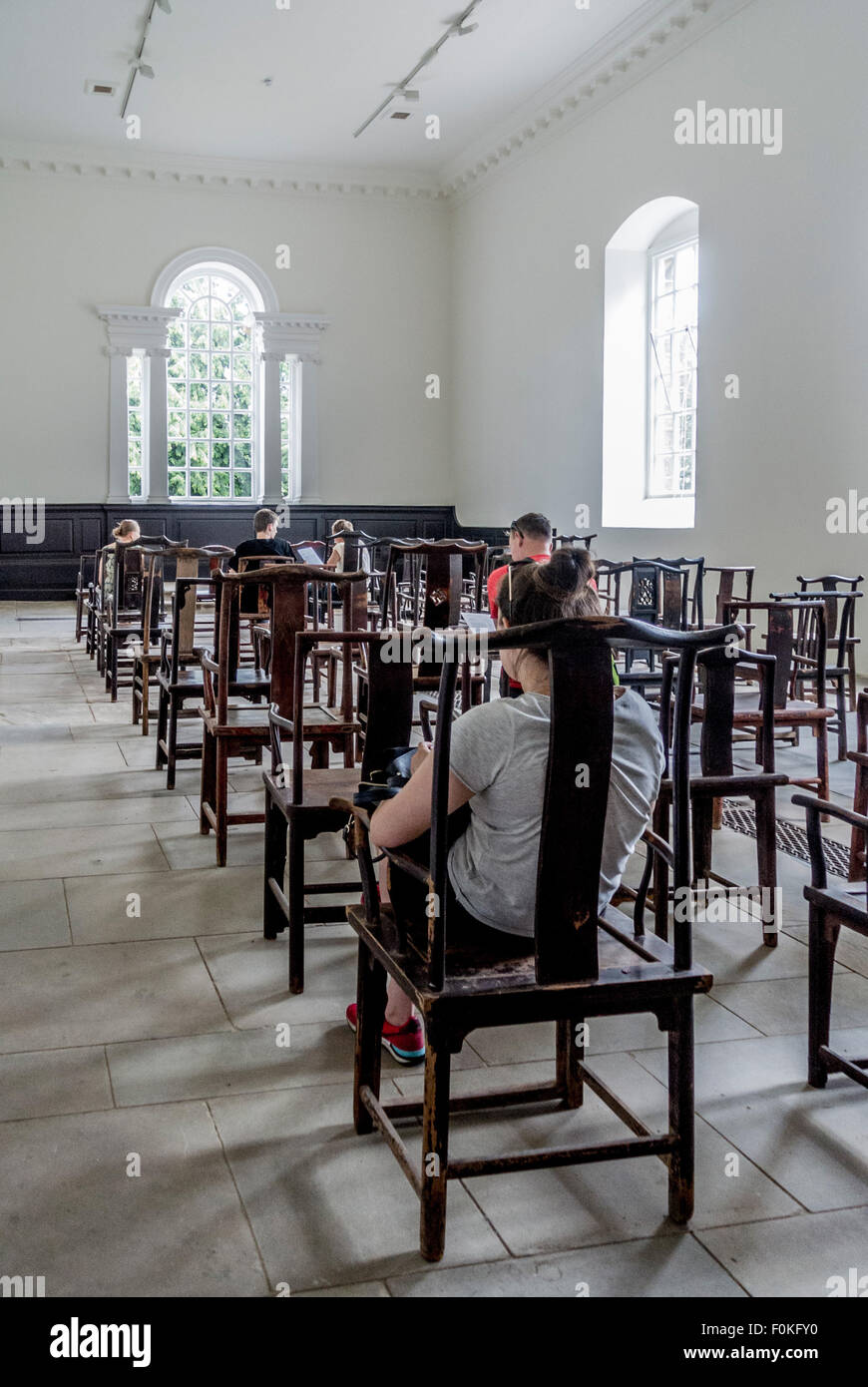 Yorkshire Sculpture Park. Ai Weiwei exhibition. Fairytale-1001 Chairs in the Chapel - Stock Image