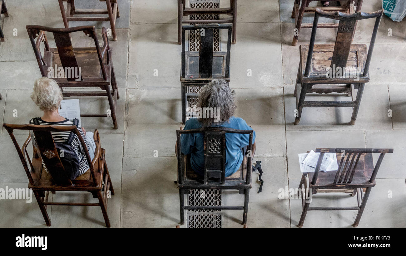 Yorkshire Sculpture Park. Ai Weiwei exhibition shot from above looking down on  Fairytale-1001 Chairs in the Chapel. - Stock Image