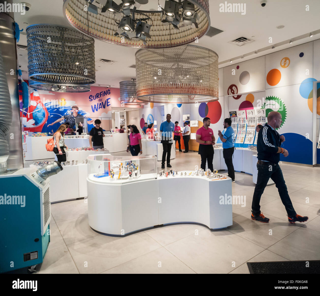 The Swatch store in Times Square in New York on Tuesday, August 11, 2015.  Swatch is the world's largest manufacturer - Stock Image
