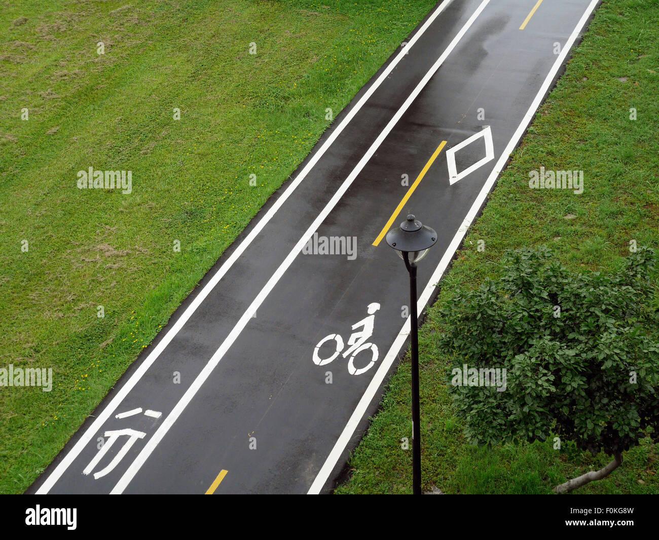 Taiwan, Taipeh, empty bicycle lane - Stock Image