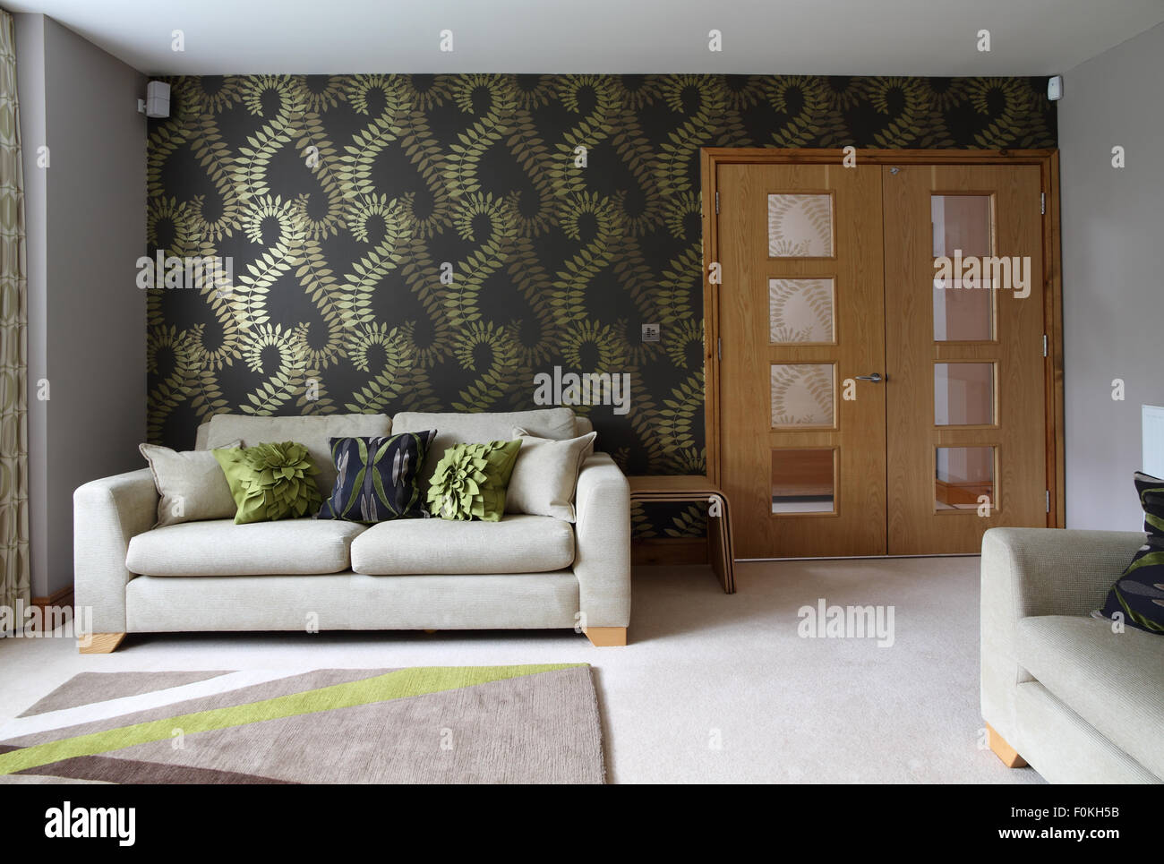 Modern living sitting room with double doors large print wallpaper and abstract rug