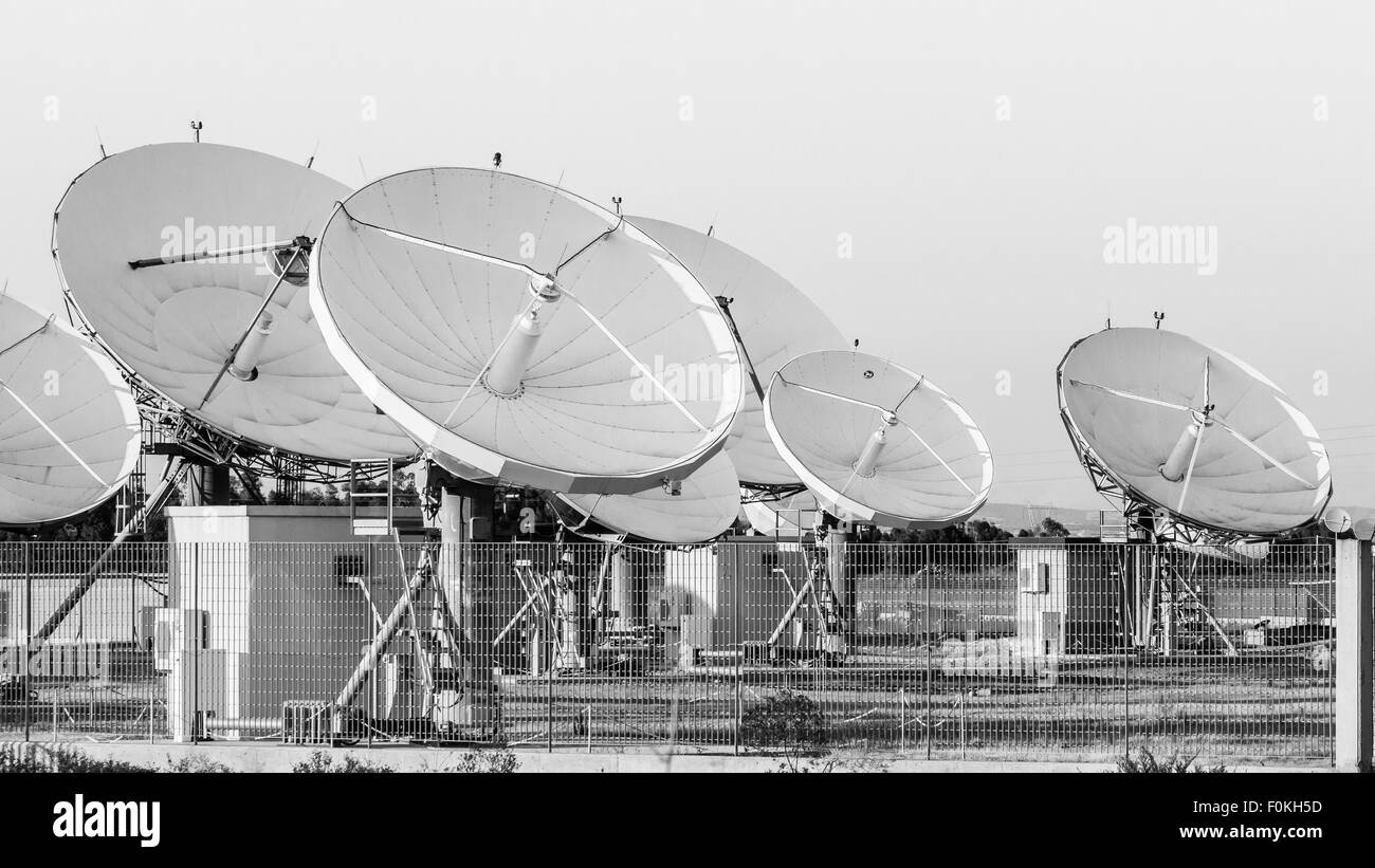 teleport satellite communications. Group of antennas in teleport of Cagliari Sardinia, Italy - Stock Image