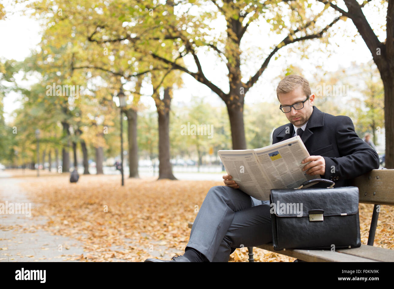 businessman on park bench reading newspaper stock photo: 86485663