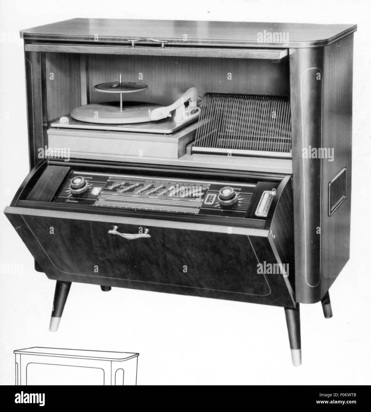 technics, consumer electronics, radiogram W656, Tonfunk GmbH, Karlsruhe, 1956, W 656, W-656, electric appliance, - Stock Image
