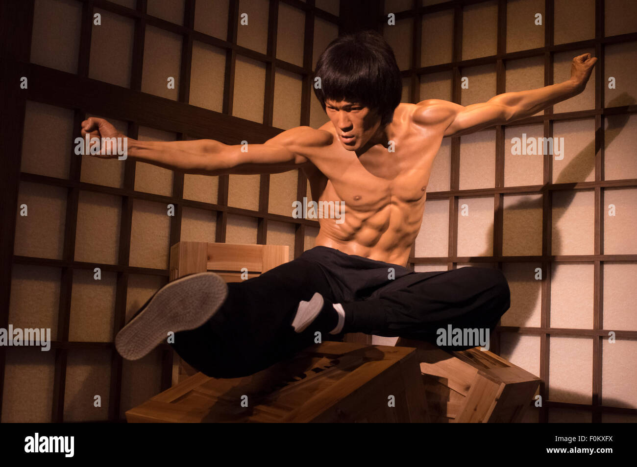 Bruce Lee - Madame Tussauds Hong Kong,  wax museum at the Peak Tower on Hong Kong Island - Stock Image