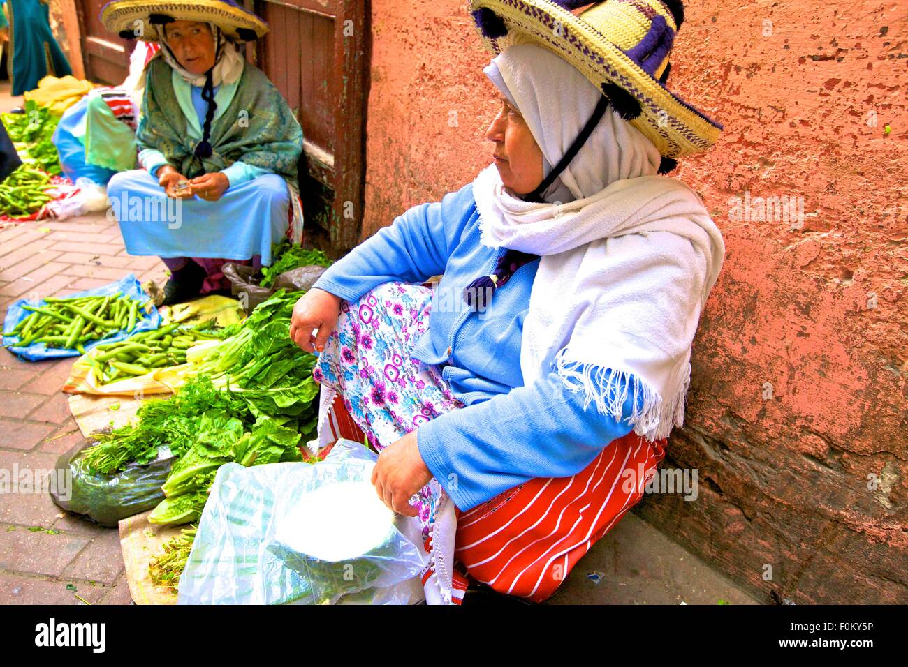 Berber Vendors at Market, Tangier, Morocco, North Africa - Stock Image