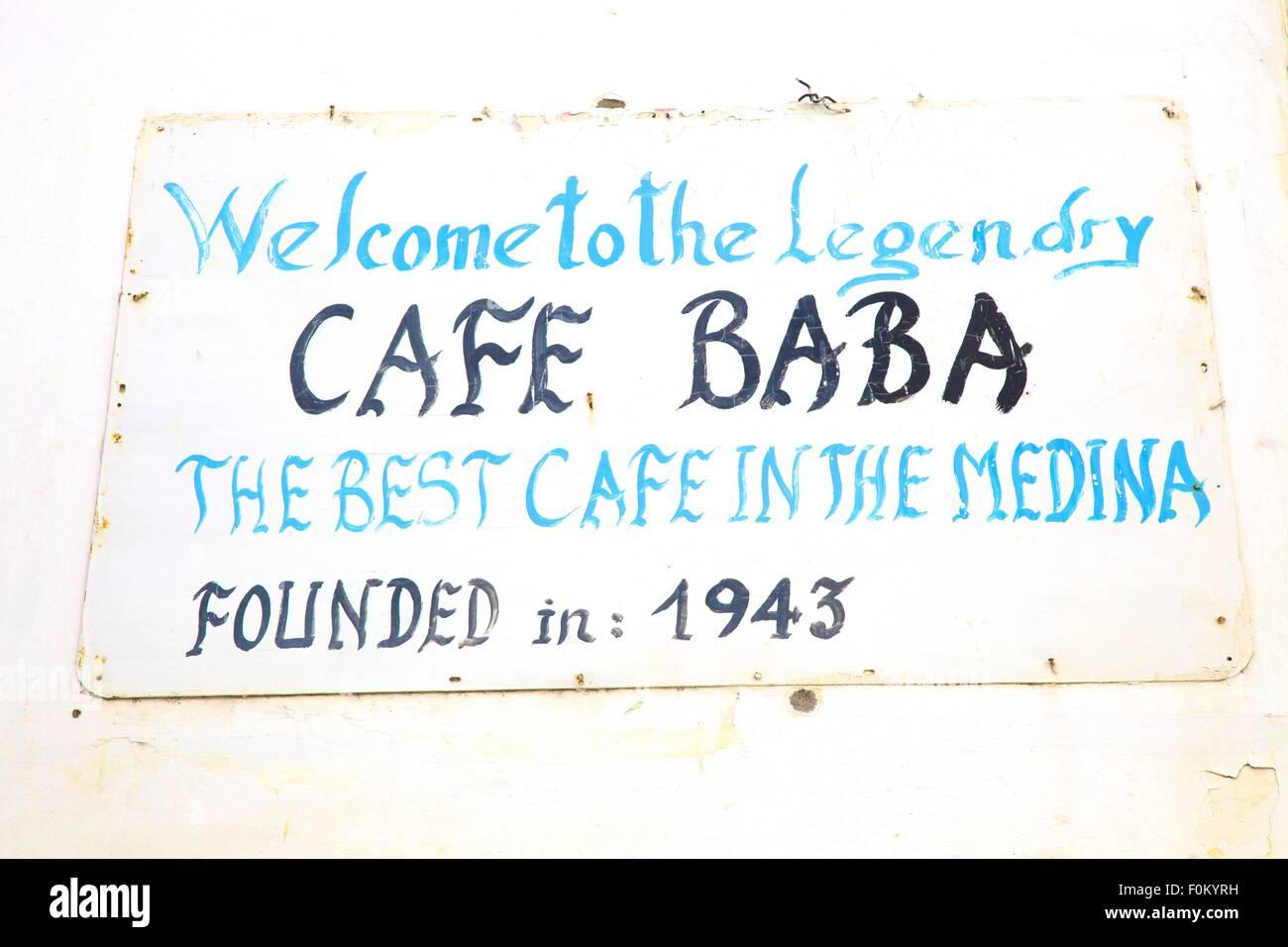 Cafe Baba Signage, Tangier, Morocco, North Africa - Stock Image