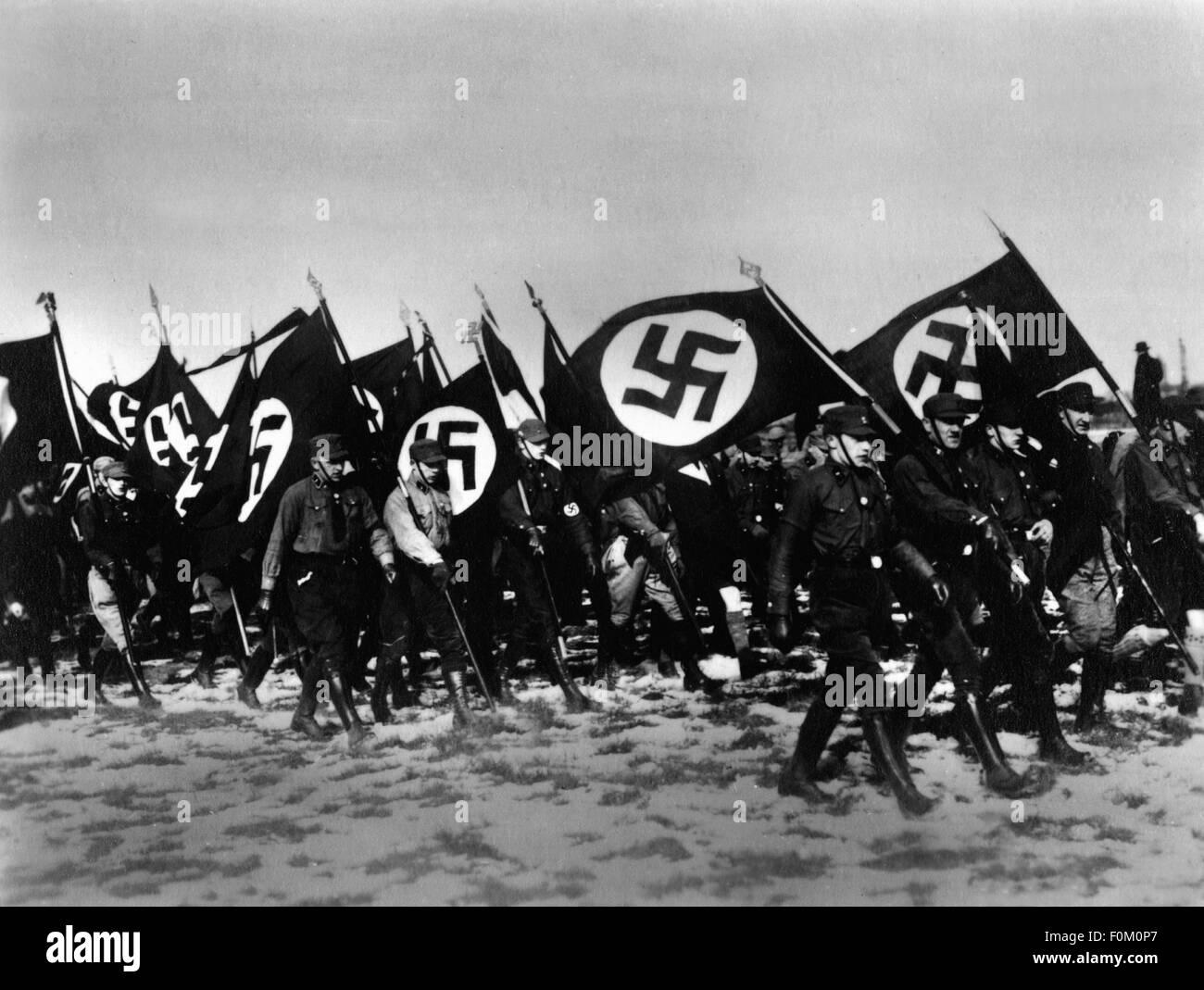 National Socialism, organisations, storm battalion (storm battalion ), parade in Bernau, 1927, Additional-Rights - Stock Image