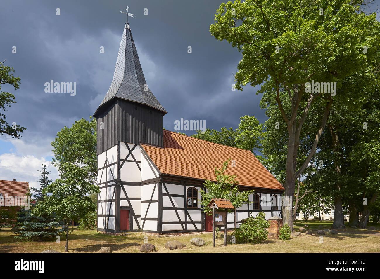 Timbered church in Grube / Bad Wilsnack, Prignitz, Brandenburg, Germany - Stock Image