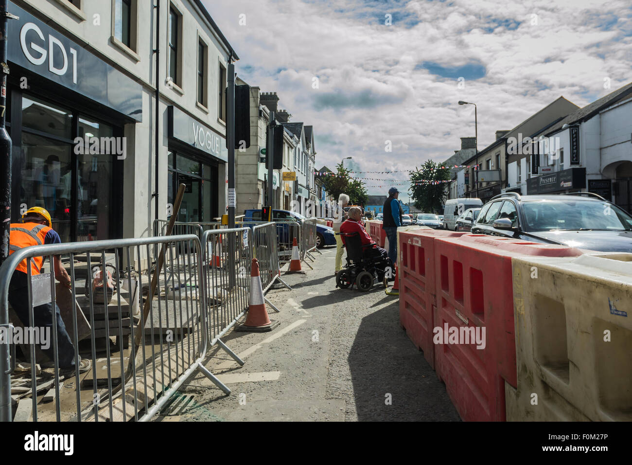 Newtownards, County Down, Northern Ireland, UK.   17th August, 2015.   Public Realm work nearing completion but - Stock Image
