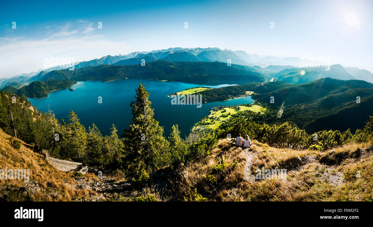 View from Herzogstand to the Walchensee lake and Karwendel mountains, Bavaria, Germany - Stock Image