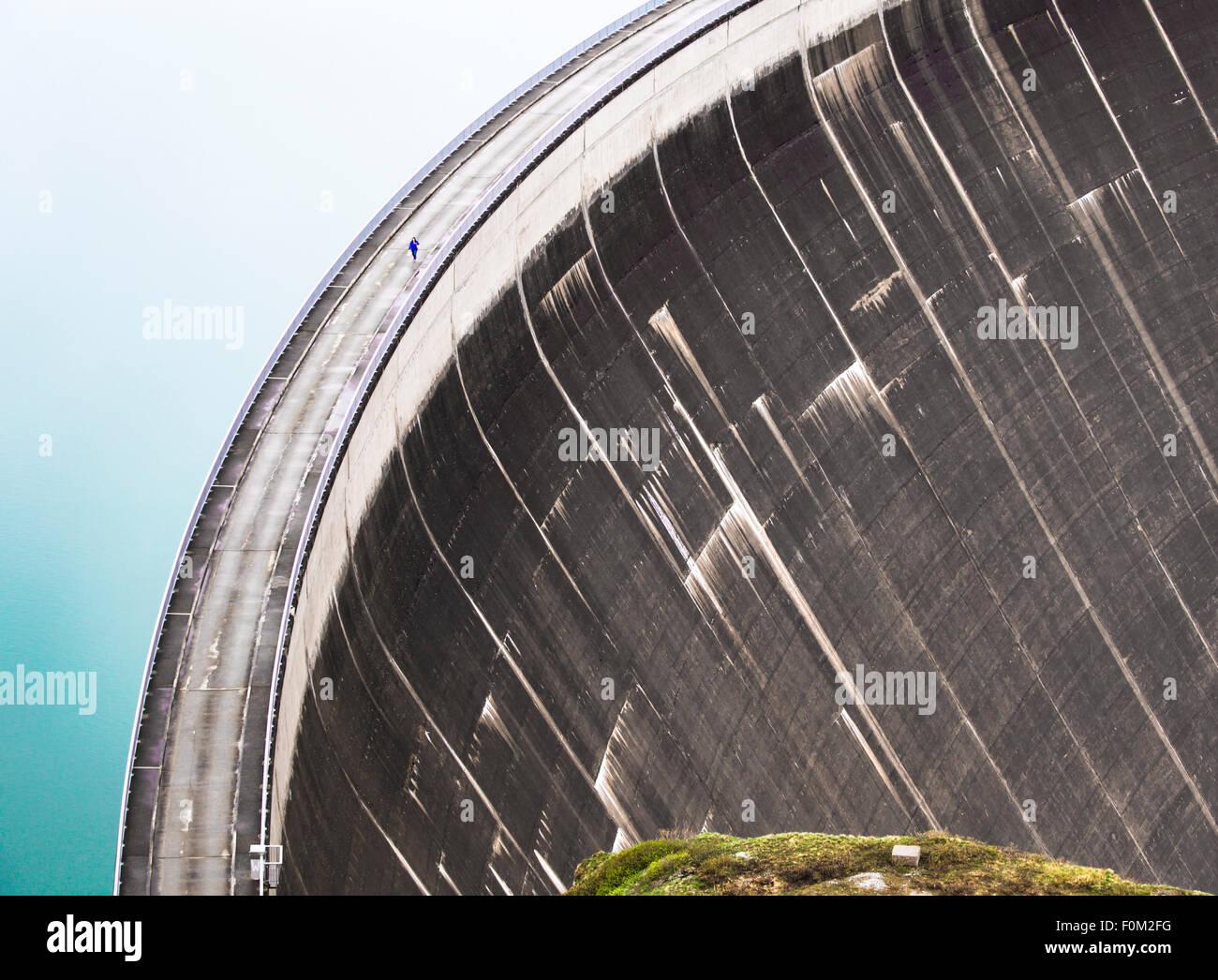 Mooserboden reservoir with Mooser dam, Kaprun, Austria - Stock Image