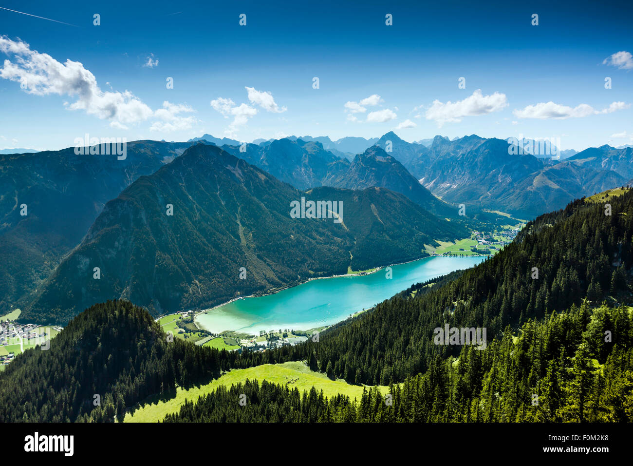 Achen Lake and Karwendel mountains, Tyrol, Austria - Stock Image