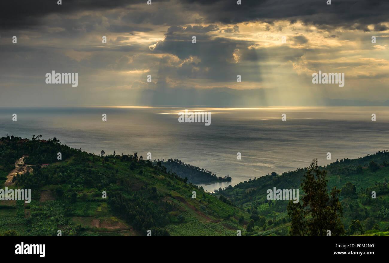 Sunset at Lake Kivu, Rwanda, Africa - Stock Image