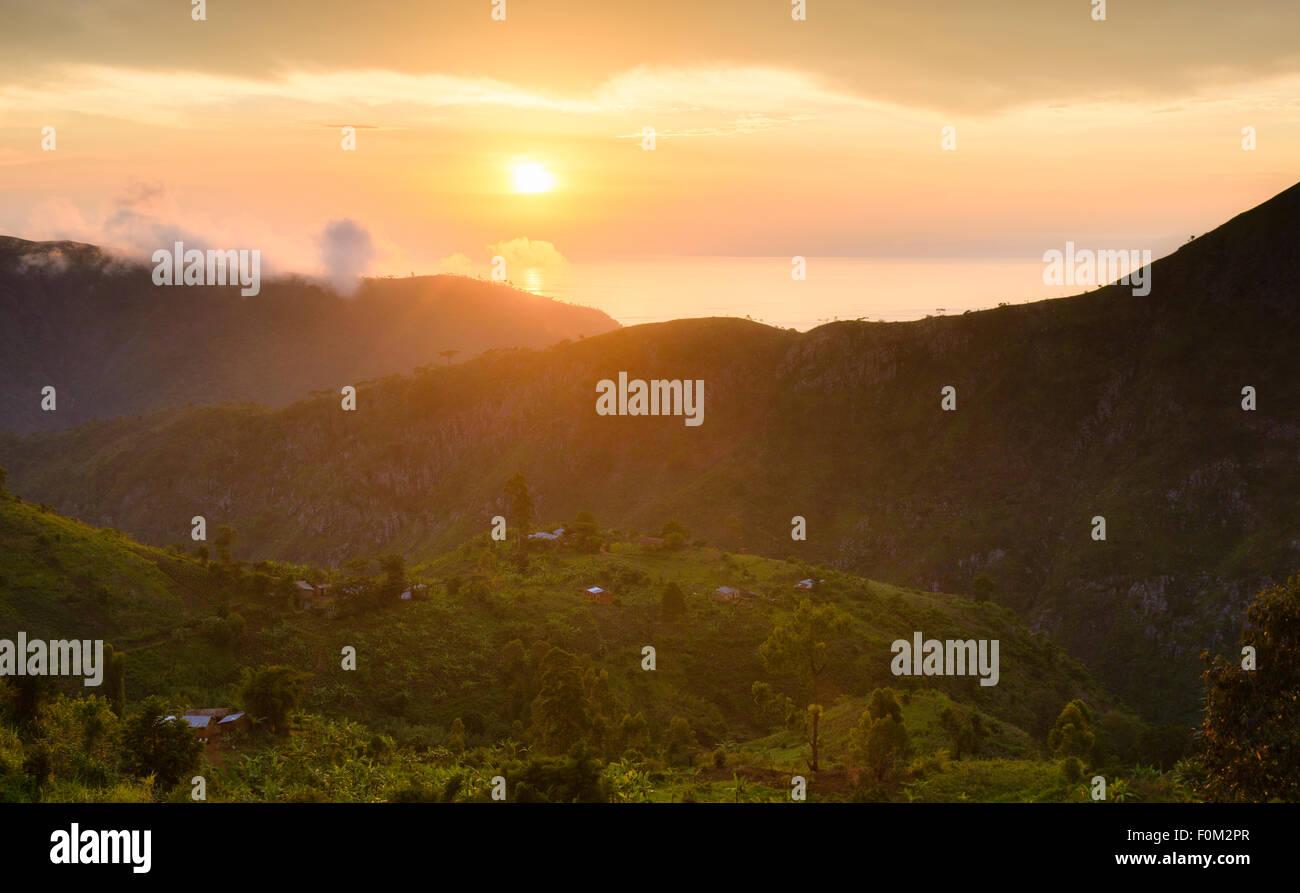 Sunset at Lake Tanganyika, Burundi, Africa - Stock Image