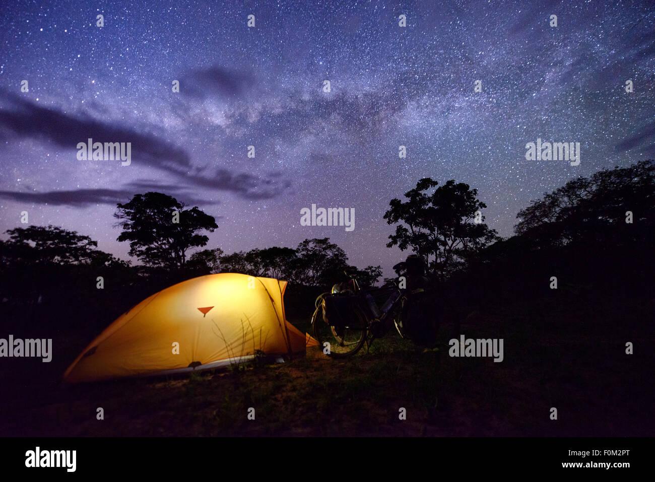 Camping in the Tanzanian bush, Africa - Stock Image
