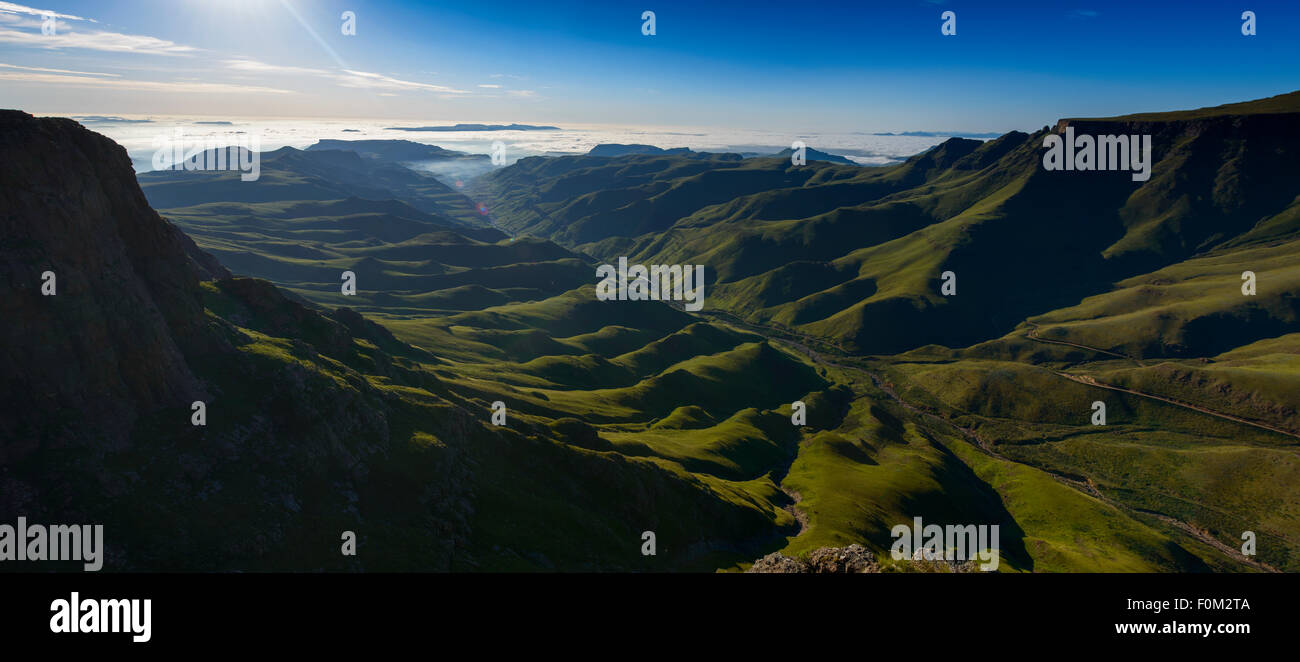 View from Sani Pass to Drakensberg range, Africa - Stock Image