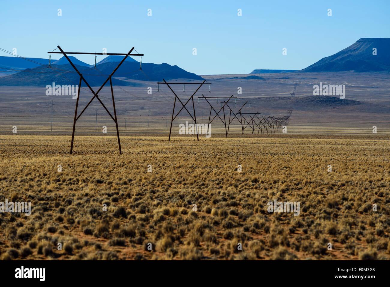 High voltage pylon across the namibian desert, Africa - Stock Image