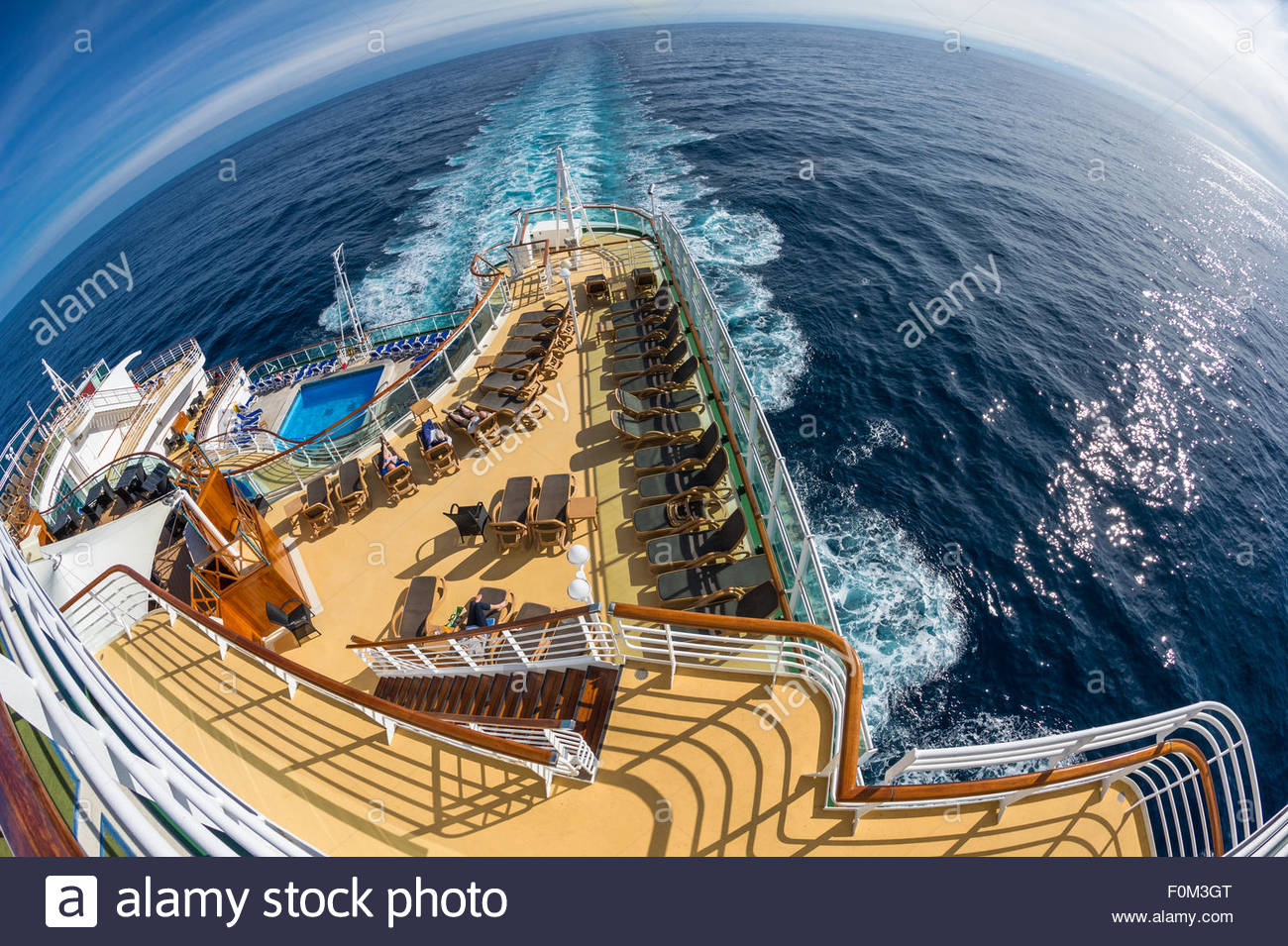Stern sun deck and pool on board the P&O cruise ship Azura - Stock Image