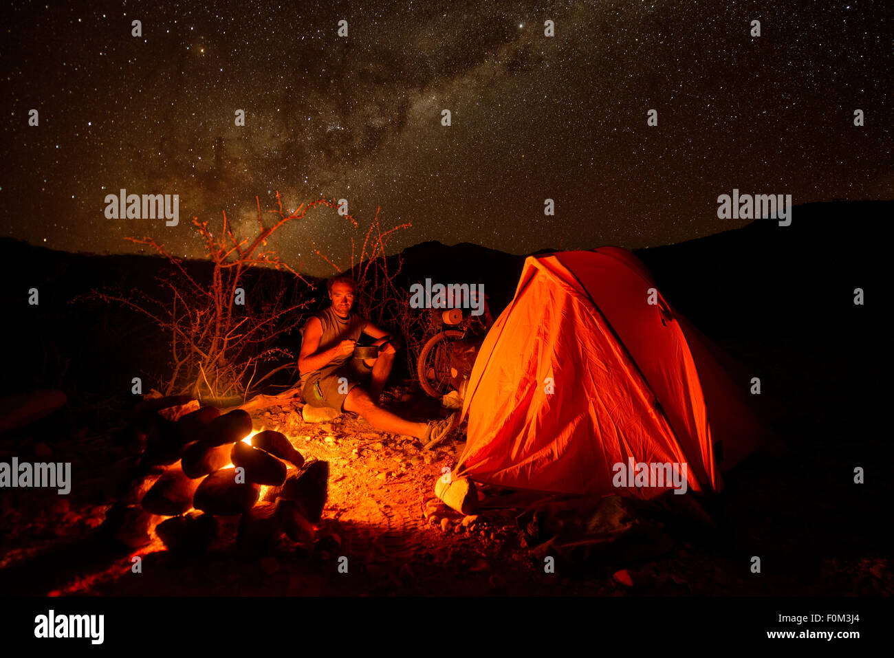 Camping in the wild, Namibia, Africa - Stock Image