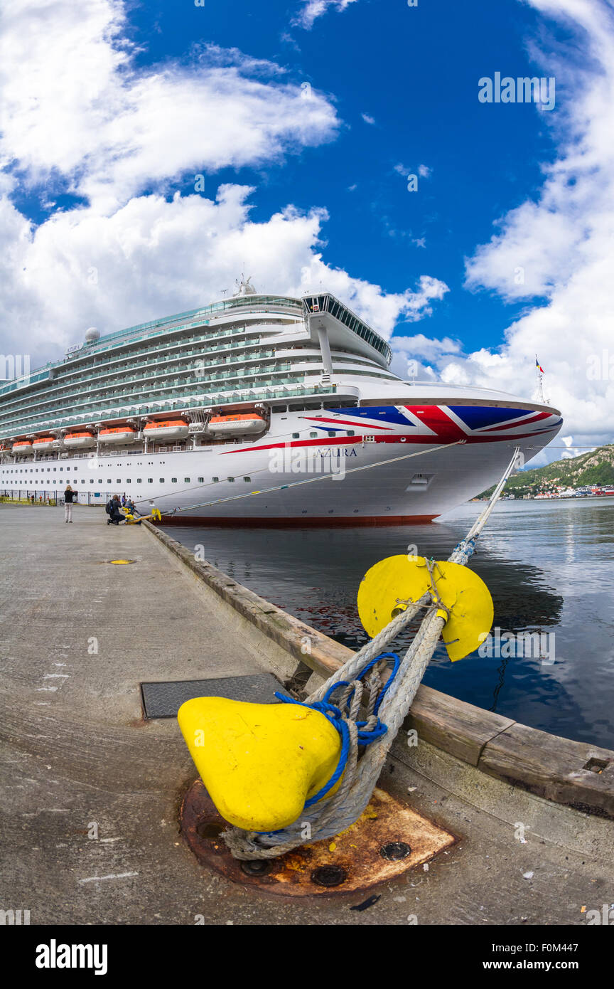 P&O cruise ship Azura in port at Bergen, Norway - Stock Image