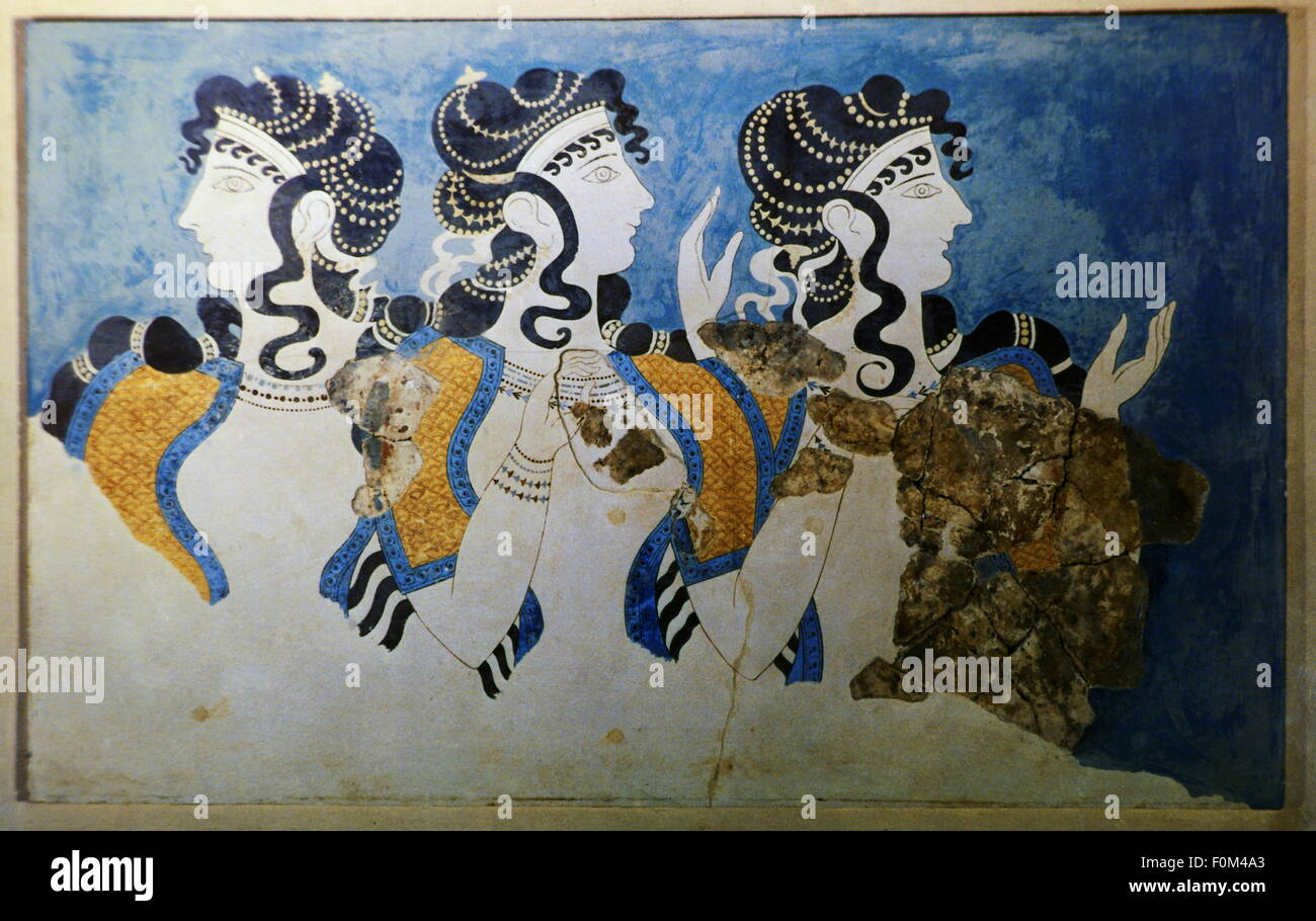 geography / travel, Greece, ancient world, Crete, Knossos, Minoan culture, The Blue Ladies, Heraklion Museum, women, - Stock Image