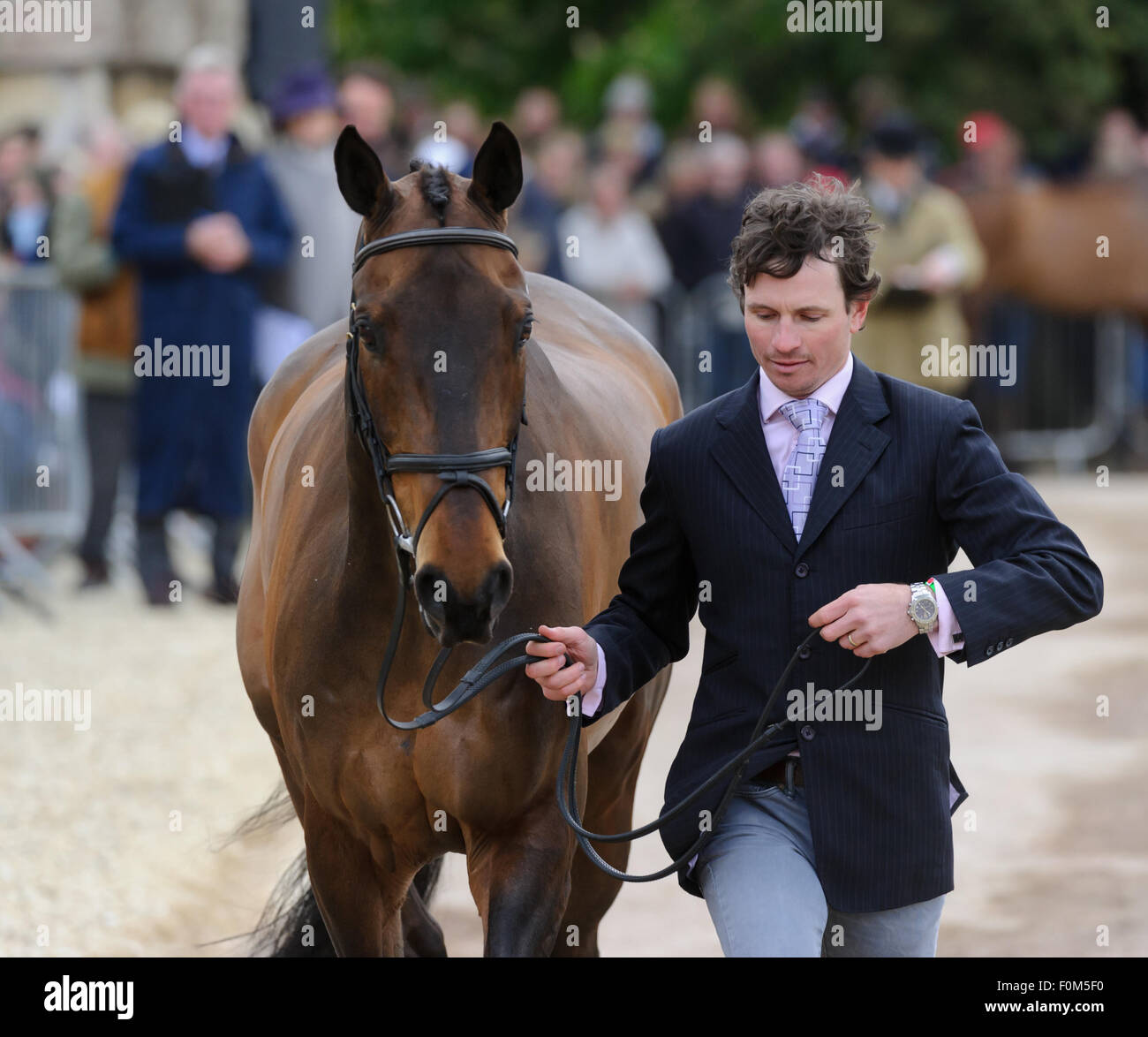 Francis Whittington and FERNHILL HIGHLIGHT - First horse inspection - Mitsubishi Motors Badminton Horse Trials, - Stock Image