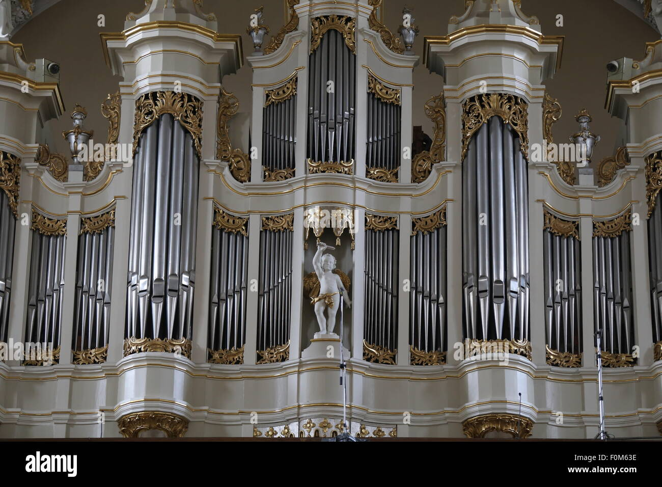 Baroque organ in the Cathedral of Vilnius.Lithuania,Europe Stock Photo