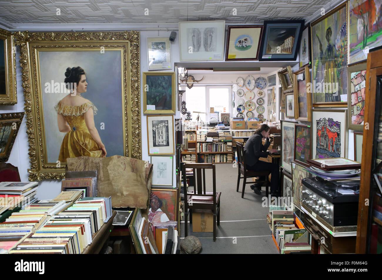 Inside of an antique shop.Vilnius,Lithuania,Europe Stock Photo