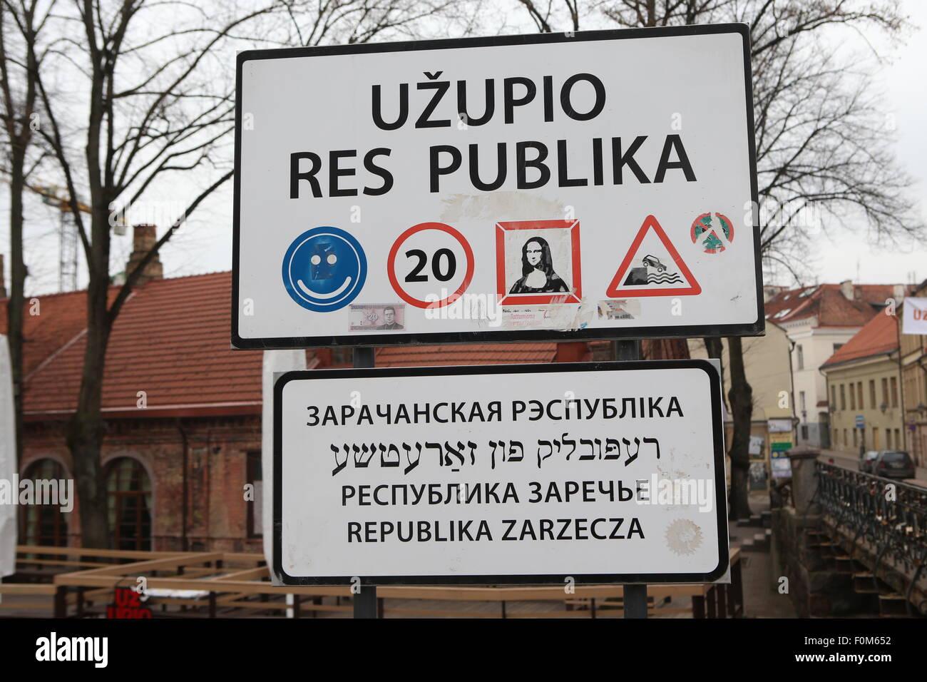 Republic of Uzupis (Uzupio Res Publika).Vilnius,Lithuania,Europe Stock Photo