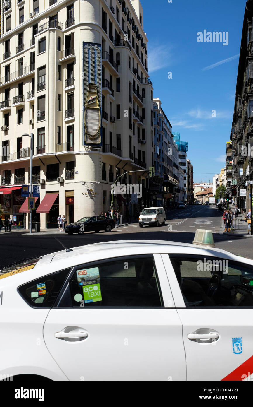 The junction of Calle de San Bernardo with Gran Via, in Madrd, Spain. - Stock Image