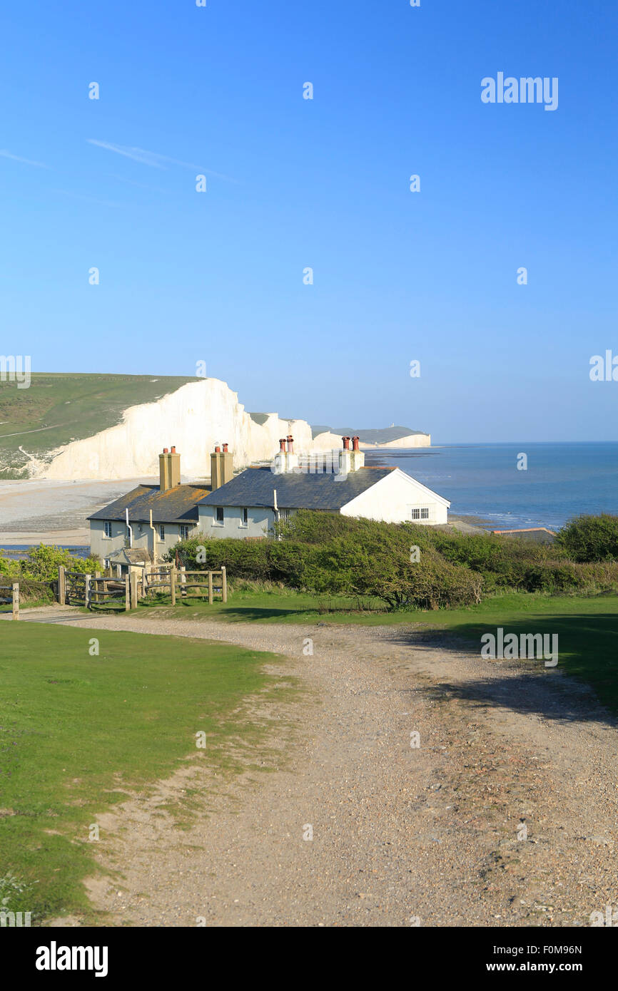 Chalk cliffs along the South Downs Way, Seven Sisters country park, East Sussex, UK - Stock Image
