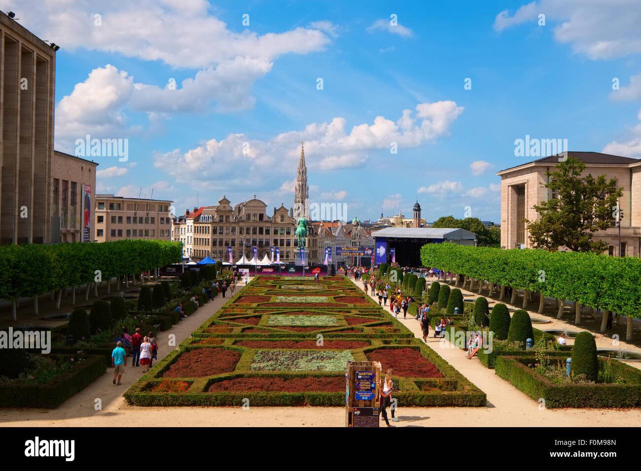 Gardens of the Royal Library in Brussels - Stock Image