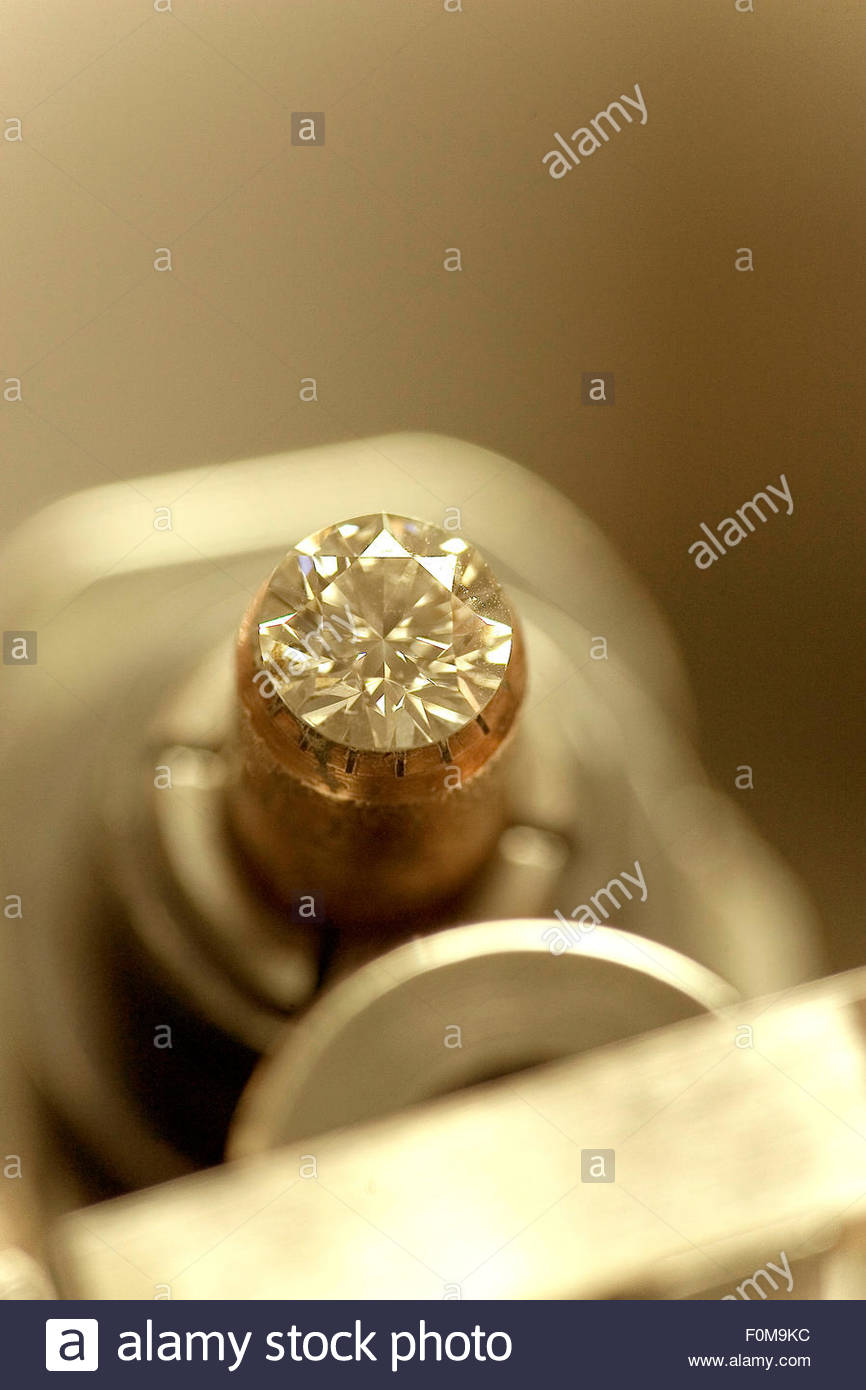 Cutting the diamonds, Overseas Diamonds company, Antwerp - Stock Image