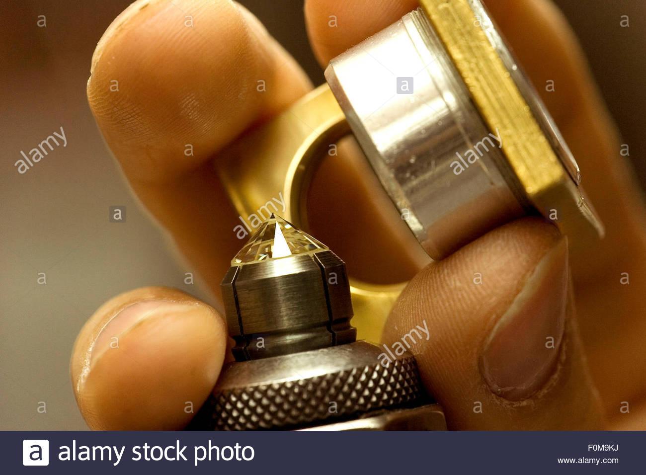 Cutting, polishing the diamonds. Overseas Diamonds company, Antwerp - Stock Image