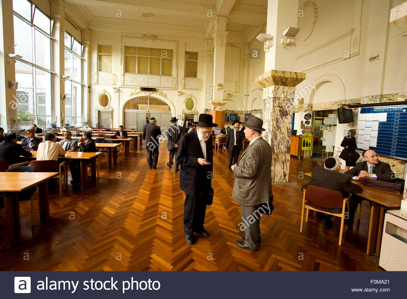 Transation hall. Diamant club Van Antwerpen, Antwerp is the most important center in the world for negociation of - Stock Image