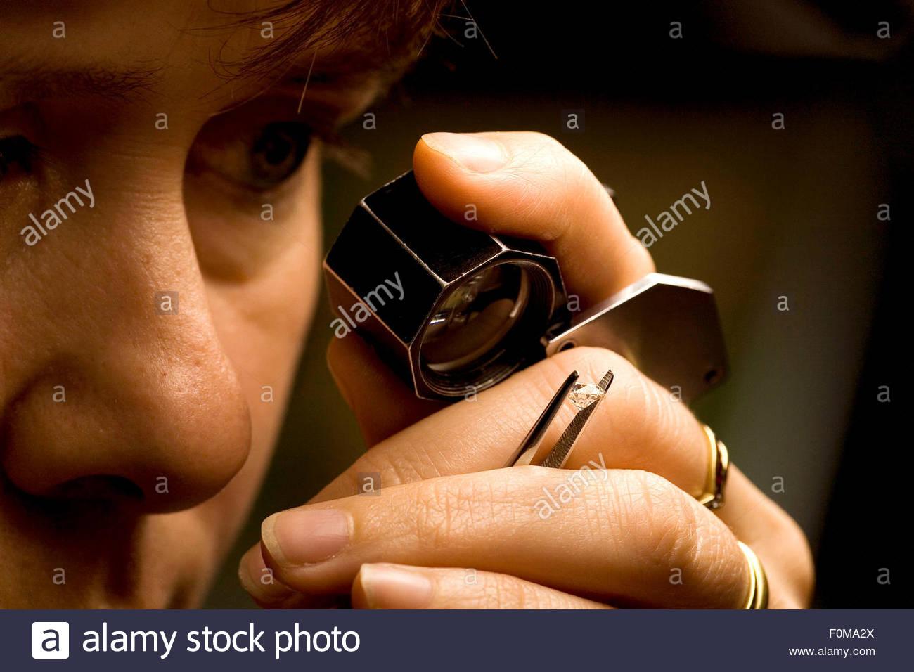 Antwerp, checking the pureness of the diamond, Antwerp Diamond centre, - Stock Image