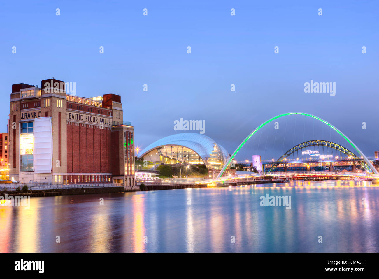 The BALTIC Centre for Contemporary Art, Millennium Bridge, Tyne Bridge and Sage Gateshead, Tyne and Wear, UK - Stock Image