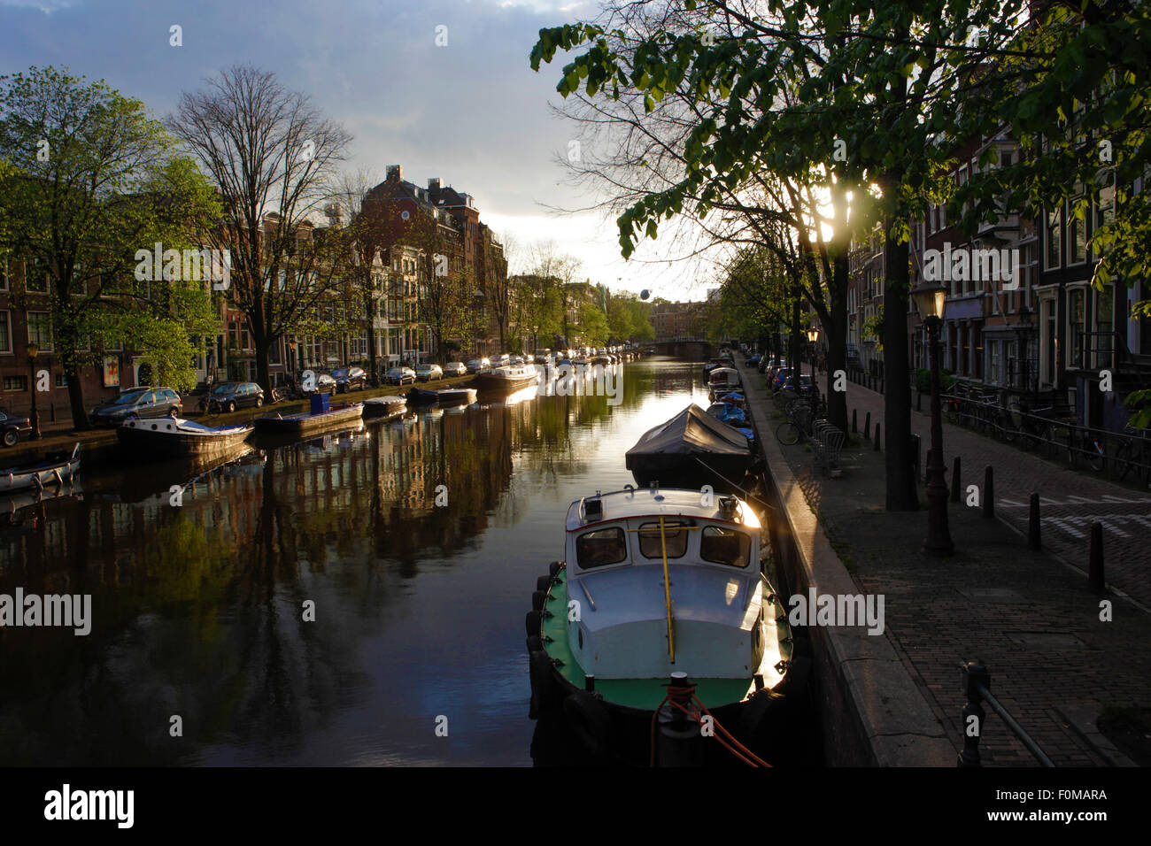 Prinsengracht canal in Amsterdam by Alex Robinson - Stock Image