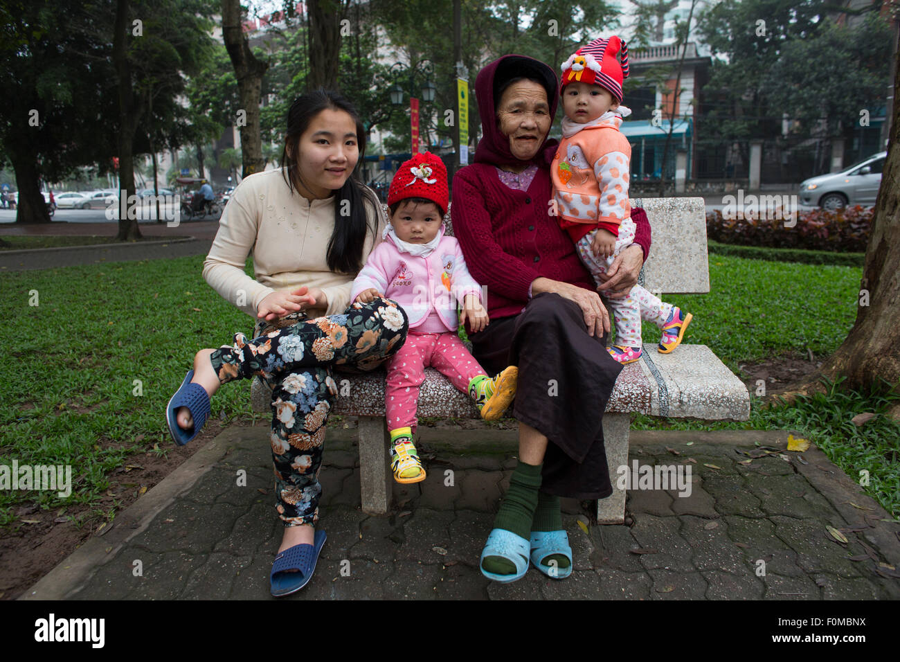 three generations in Hanoi - Stock Image