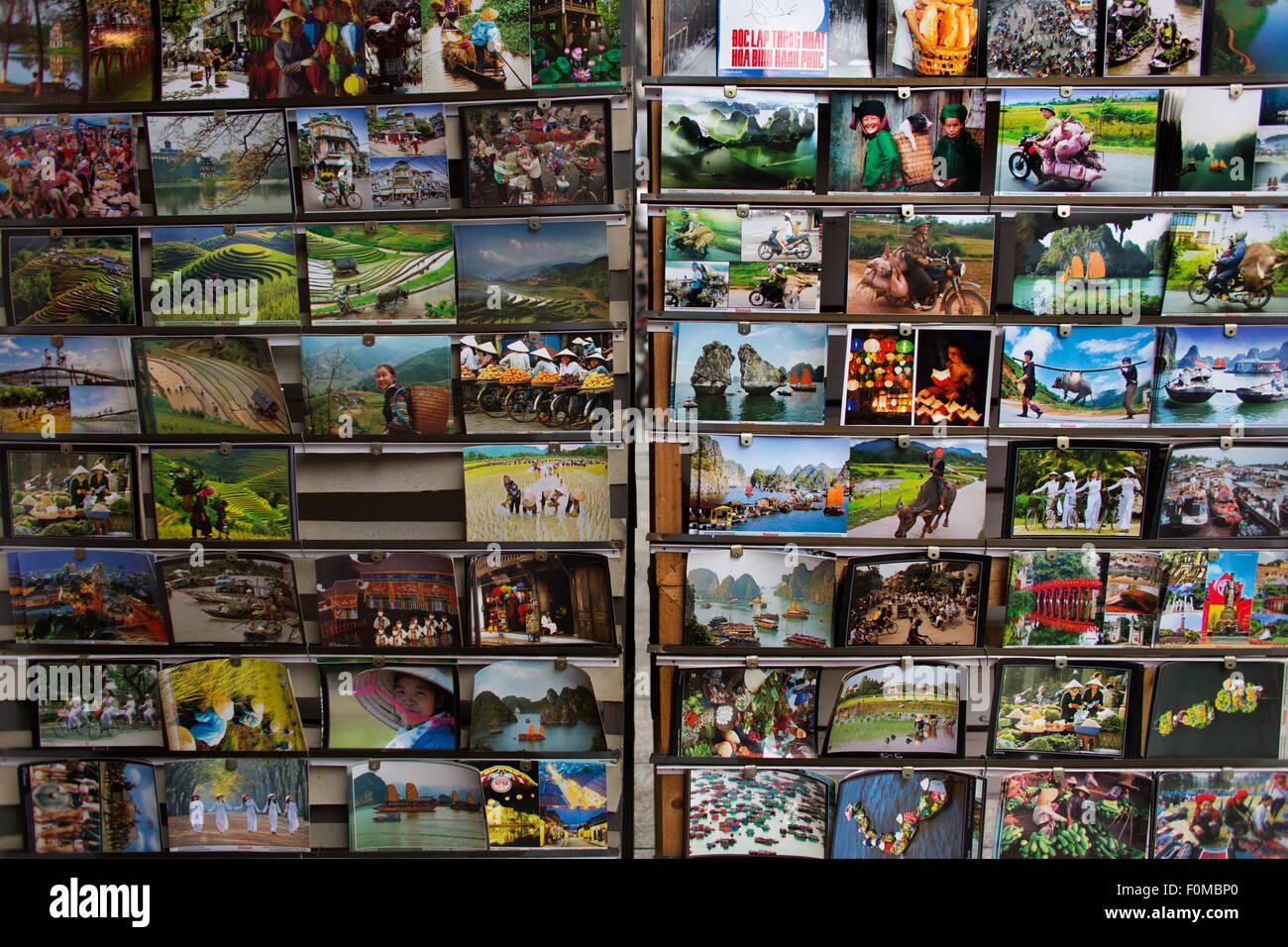 postcards for sale in hanoi, Vietnam - Stock Image