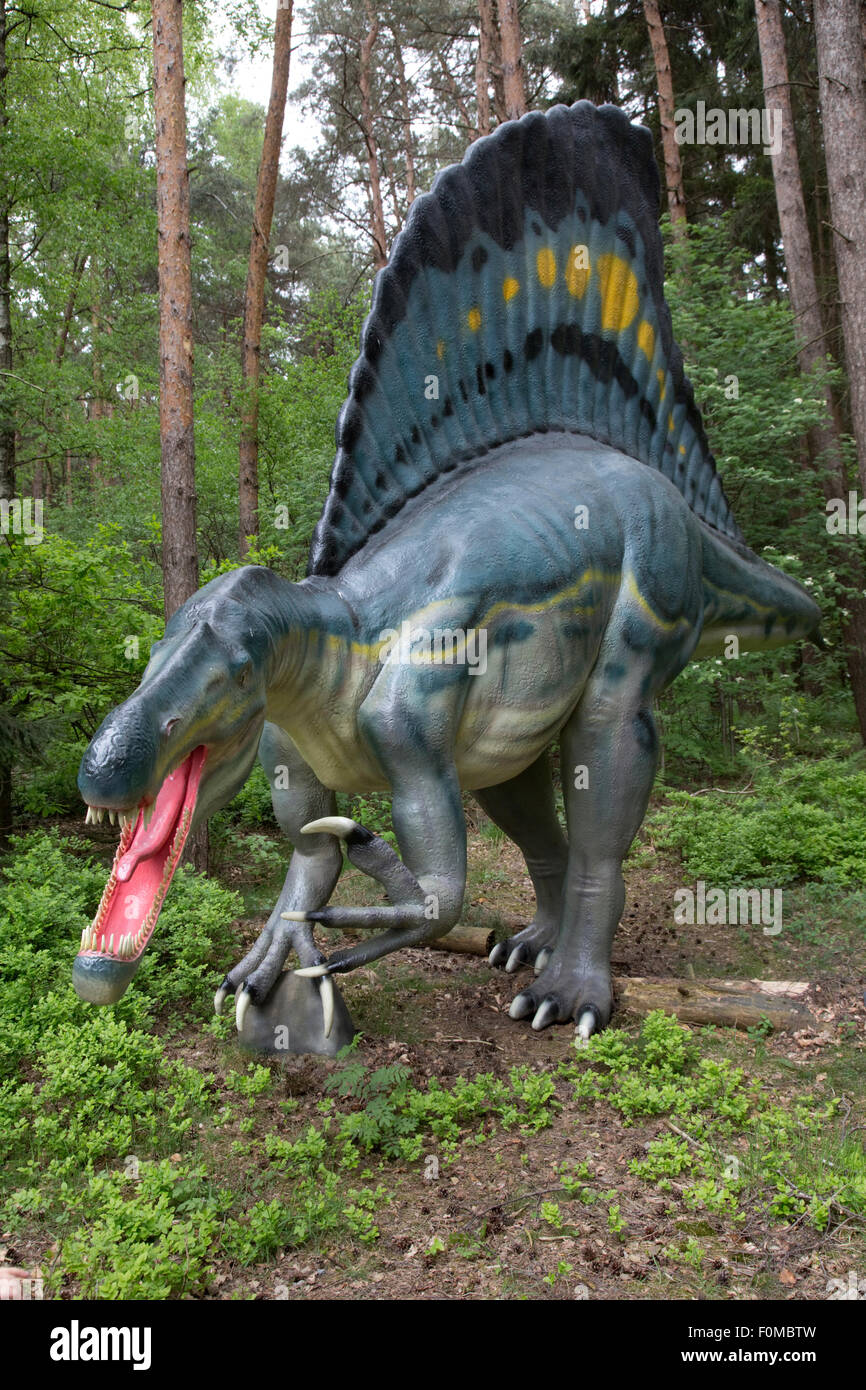 Spinosaurus extinct North African Theropod dinosaur cretaceous Dinosaurier Park Germany - Stock Image