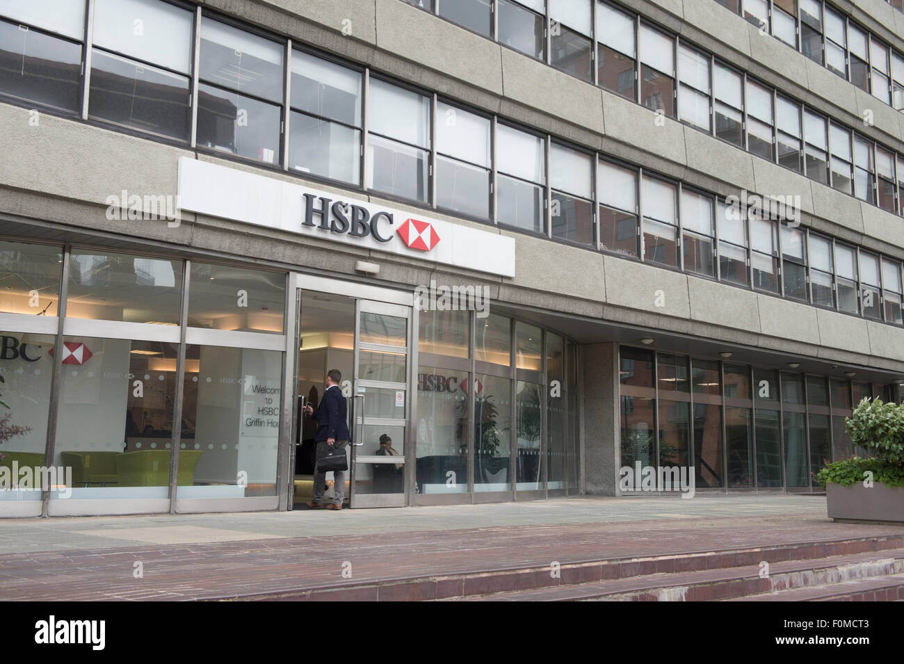 HSBC building on Silver Street Head in Sheffield Thousnds of job cuts have been announced by HSBC as part of a re - Stock Image
