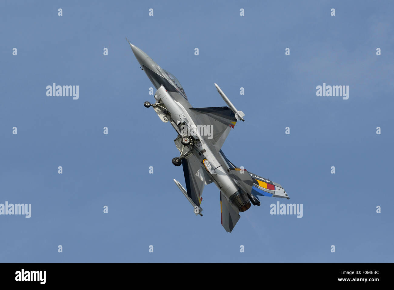 Belguim Air Force General Dynamics F-16A starting to climb with landing gear still down - Stock Image