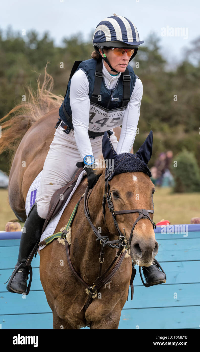 Caroline Powell at the 2015 Burnham International horse trials - Stock Image