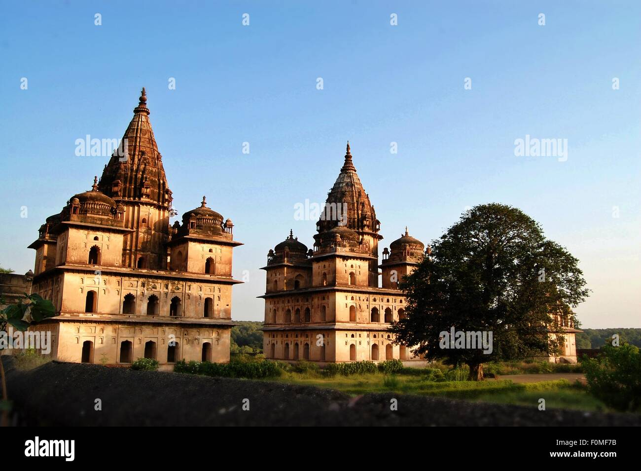 Chhatris or cenotaphs near the banks of the River Betwa in Orchha India - Stock Image