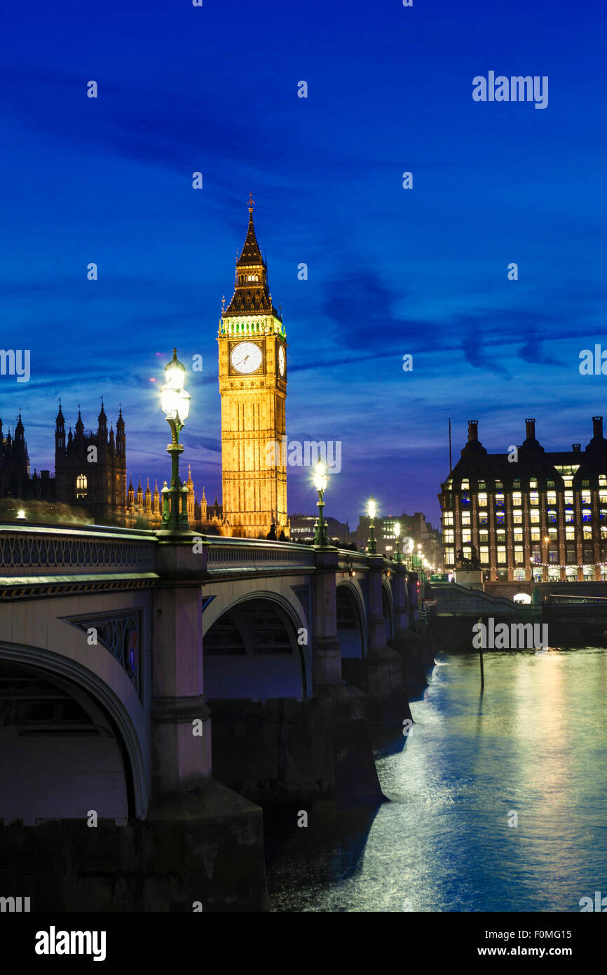 London, Houses of Parliament (Palace of Westminster), Thames and Westminster Bridge Stock Photo