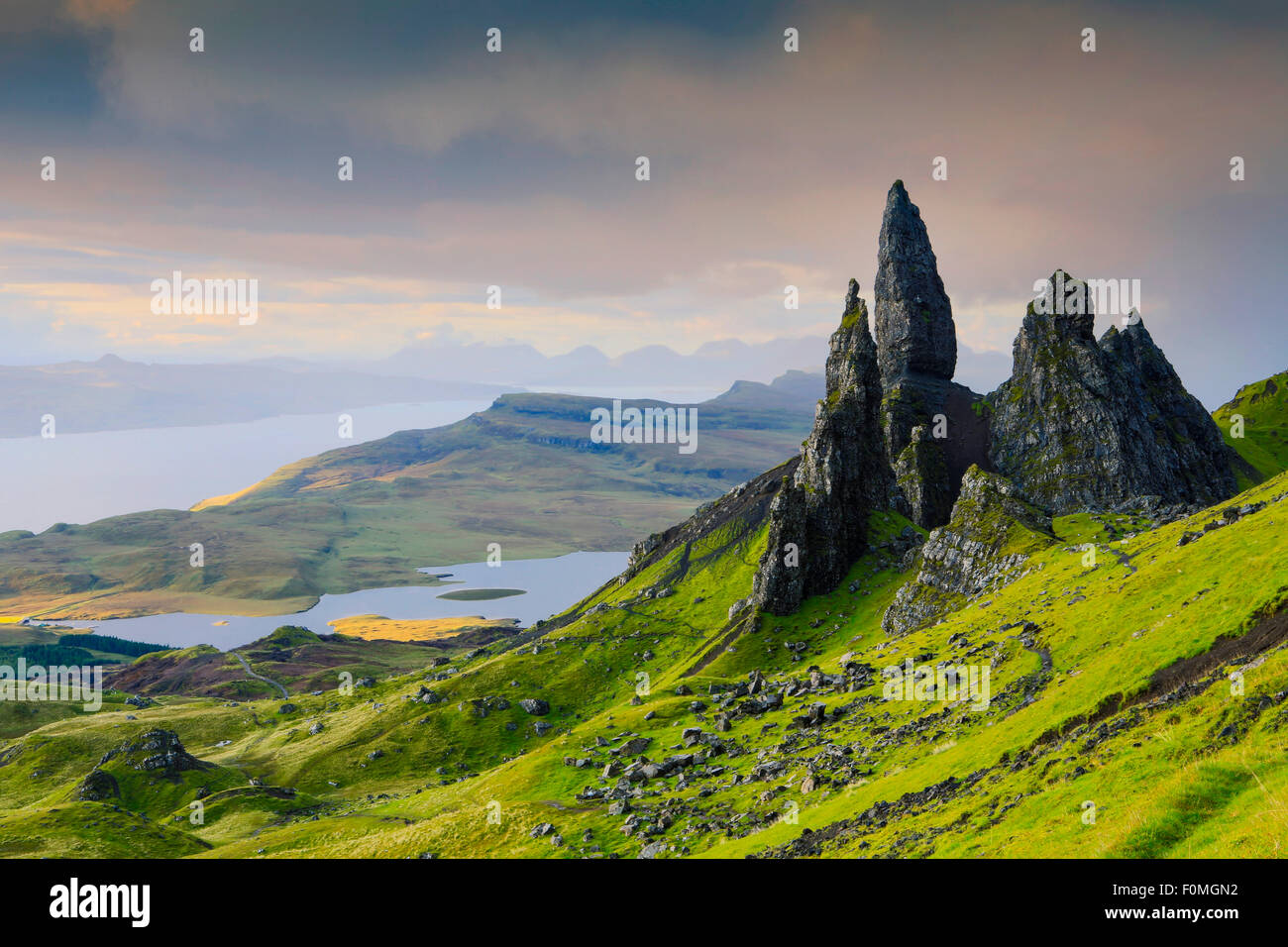 The Old Man of Storr rocks on the Isle of Skye in the Highlands of Scotland - Stock Image