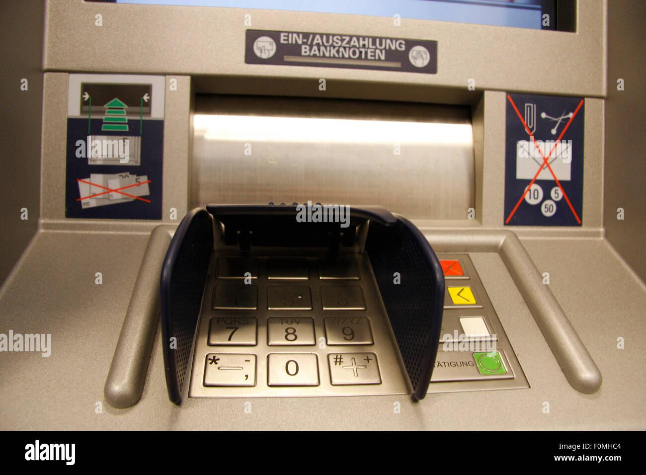 APRUIL 2008 - BERLIN: an Automatic Teller Machine (ATM) in a bank in Berlin. - Stock Image