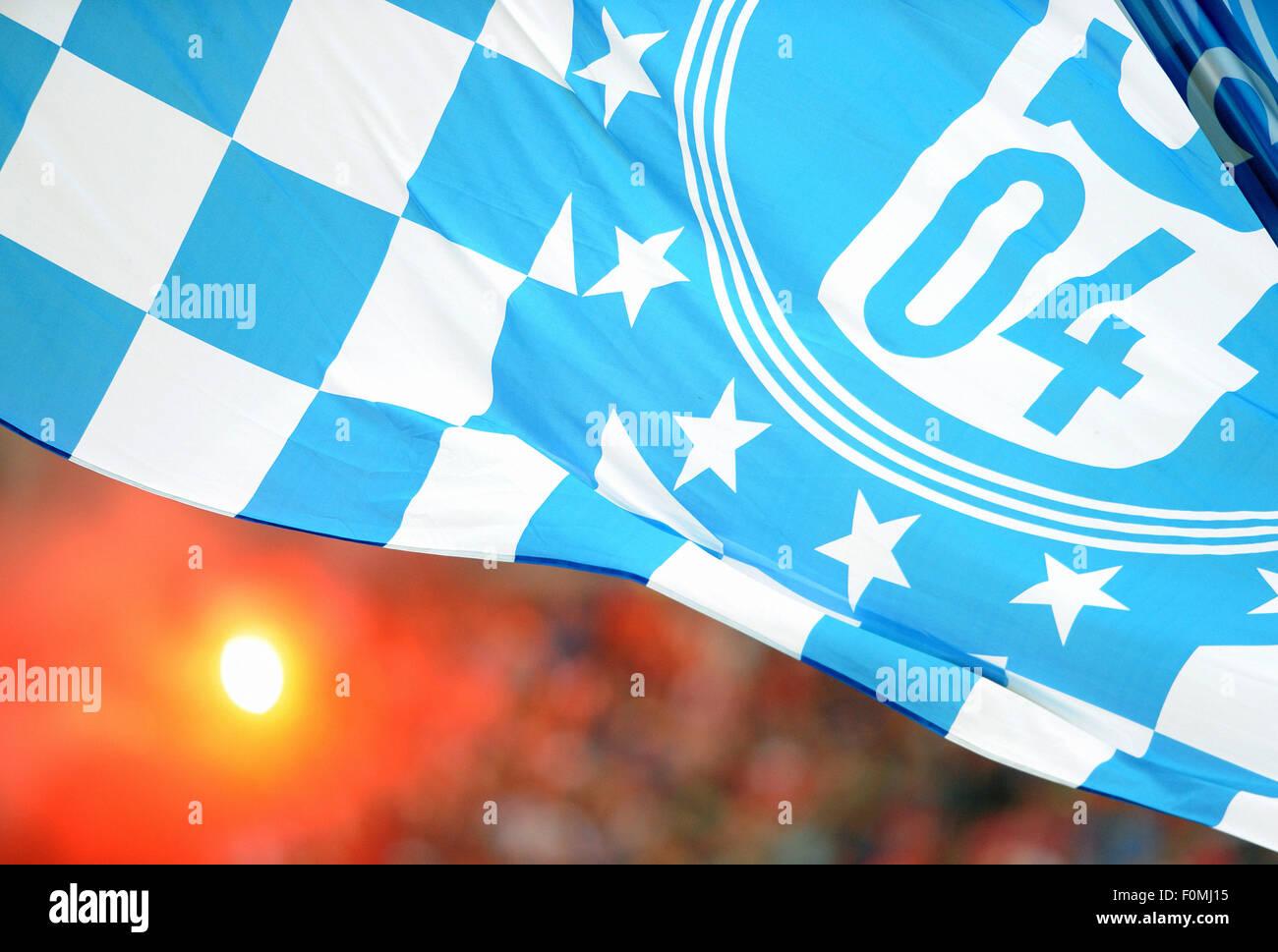 Football, Soccer, Germany, Bundesliga, Season 2015/2016, Veltins Arena; FC Schalke 04: blue and white supporters - Stock Image